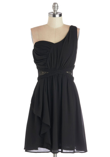 Dinner and Glancing Dress - Sheer, Woven, Mid-length, Black, Solid, Lace, Ruching, Party, LBD, A-line, One Shoulder, Better, Braided, Cutout, Lace
