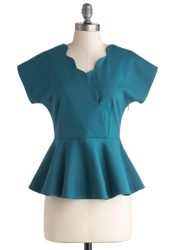 Pond Promenade Top by Myrtlewood - Private Label, Mid-length, Knit, Blue, Solid, Scallops, Work, Peplum, Short Sleeves, Blue, Short Sleeve, Exclusives
