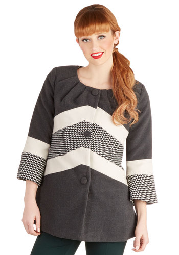 Pattern Mixer Coat by Ryu - Mid-length, 2, Grey, White, Print, Buttons, Pleats, Pockets, 3/4 Sleeve, Fall, Winter