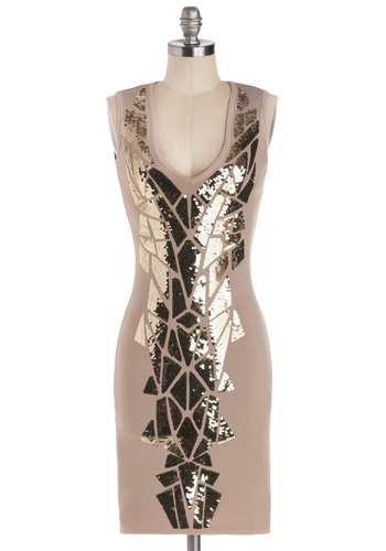 Mosaic Television Dress - Mid-length, Knit, Tan, Gold, Sequins, Girls Night Out, Bodycon / Bandage, Sleeveless, Better, V Neck