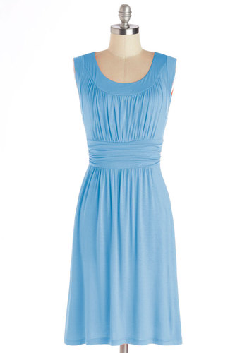 I Love Your Dress in Sky - Jersey, Knit, Blue, Solid, Ruching, Casual, A-line, Sleeveless, Good, Scoop, Variation, Work, Mid-length