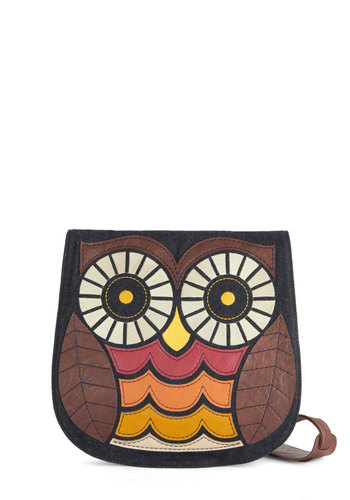 Owl About Town Bag - Brown, Multi, Print with Animals, Owls, Denim, Faux Leather, Woven, Multi, Blue, Statement, Gals