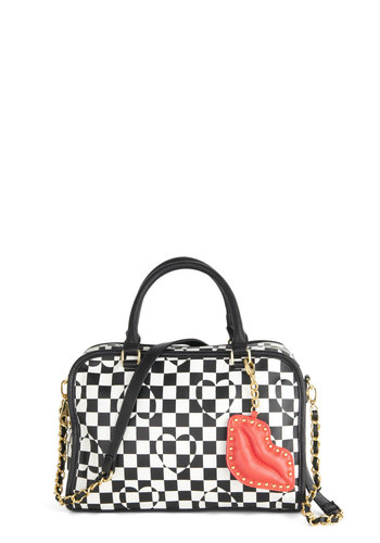 Betsey Johnson Find Your Passion Bag by Betsey Johnson - Red, Gold, Checkered / Gingham, Chain, Studs, Best, Faux Leather, Multi, Black, White, Spring, Valentine's, Statement