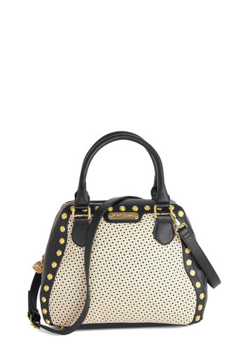 Betsey Johnson Playful Perforations Bag by Betsey Johnson - Black, White, Gold, Flower, Trim, Best, Faux Leather, Studs