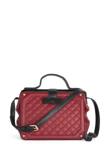 Lounge Time, No See Bag - Red, Black, Solid, Bows, Quilted, Studs, Better, Faux Leather