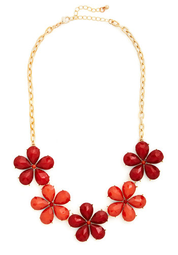 Impatiens are a Virtue Necklace in Red - Orange, Solid, Flower, Rhinestones, 60s, Variation, Pinup, Party, Red