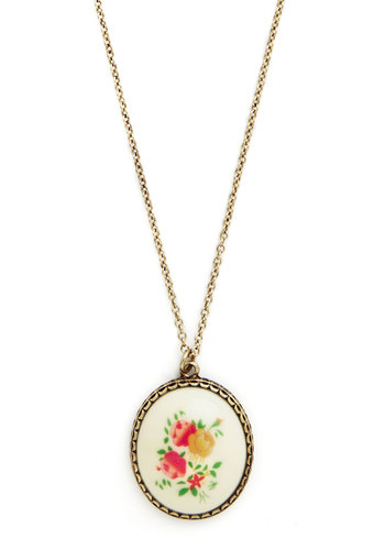 The Way We Fleur Necklace - Floral, Vintage Inspired, 70s, Multi, Gold