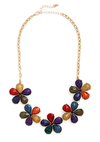 Impatiens are a Virtue Necklace in Colorful - Gold, Multi, Solid, Flower, Statement, 60s, Variation, Daytime Party, Summer