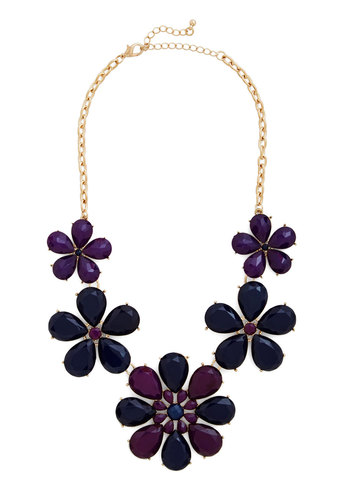 Can't Berry Wait Necklace - Gold, Purple, Solid, Flower, Statement, 60s, Purple, Party