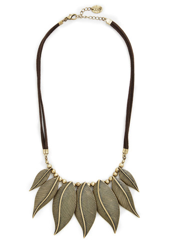 Be-Leaf It or Not Necklace - Brown, Gold, Solid, Beads, Boho, Fall