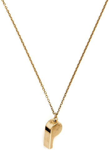 Whistle While You're Workin' Necklace by Ornamental Things - Gold, Solid, Gold