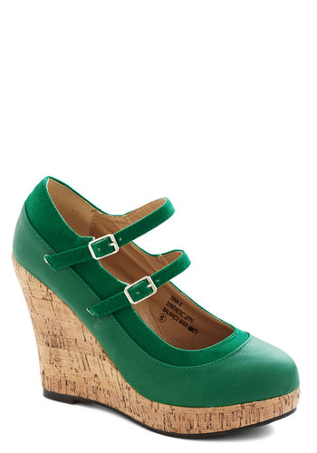 Fairway to Go Wedges - High, Faux Leather, Green, Solid, Good, Wedge, Mary Jane