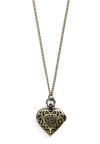 The Heart of Timekeeping Necklace - Solid, Gold, Pocketwatch, Better, Gold, Valentine's, Graduation