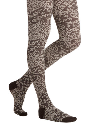 Maple Grove Tights in Brown - Brown, Print, Fall, Winter, Better, Variation, Knit