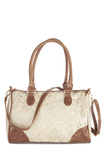 Every Little Glance Bag - Faux Leather, Tan, Tan / Cream, Solid, Lace, Work, Better, Lace