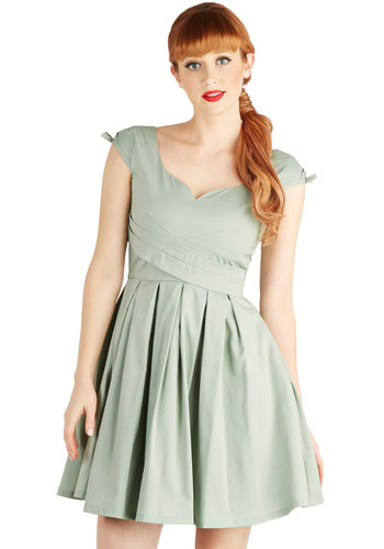 Nominee of the Night Dress in Sage - Mint, Solid, Bows, Pleats, Party, A-line, Cap Sleeves, Wedding, Vintage Inspired, 50s, Spring, Daytime Party, Pastel, Mid-length, Exclusives, Bridesmaid