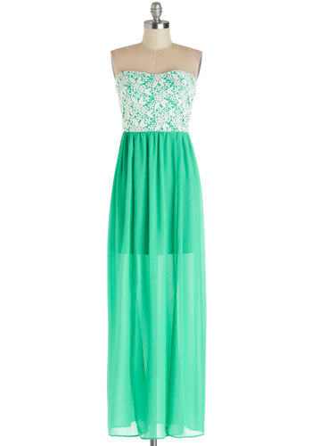 Seaside Chateau Dress - Sheer, Woven, Long, Chiffon, Green, White, Crochet, Casual, Maxi, Strapless, Better, Sweetheart, Beach/Resort, Summer