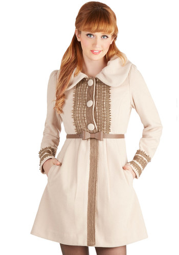 Oat Couture Coat by Ryu - Long, Faux Leather, 2, Cream, Solid, Buttons, Lace, Pockets, Belted, Long Sleeve, Winter, Better, White, Long Sleeve, Lace