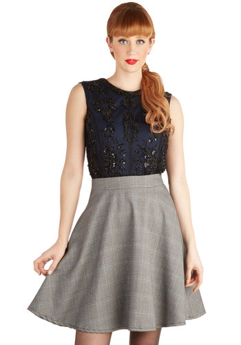 Schooltime Sparkle Skirt - Knit, Mid-length, Grey, Plaid, Work, Scholastic/Collegiate, Good, Grey, Fall, Winter, Full