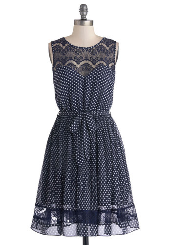 Country Kitchen Cook Dress - Blue, Polka Dots, Casual, A-line, Sleeveless, Better, Scoop, Mid-length, Chiffon, Sheer, Woven, White, Lace, Belted