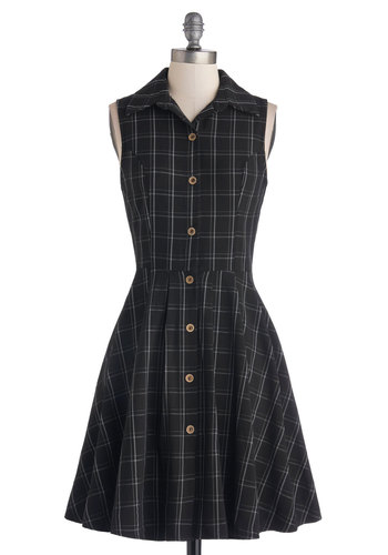 Swing Vote Dress in Black - Woven, Black, White, Buttons, Pockets, Casual, Shirt Dress, Sleeveless, Better, Collared, Plaid, Work, Scholastic/Collegiate, Variation, Mid-length