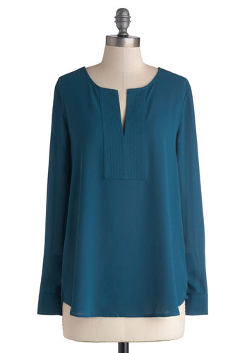 Soften the Glow Top - Woven, Mid-length, Blue, Solid, Work, Long Sleeve, Blue, Long Sleeve, Good