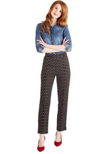 The Sweet Life Pants in Dots by Myrtlewood - Private Label, Work, Woven, Black, White, Polka Dots, Exclusives, Holiday Party, Vintage Inspired, 50s, Cropped, Better, Mid-Rise, Ankle, Black, Non-Denim