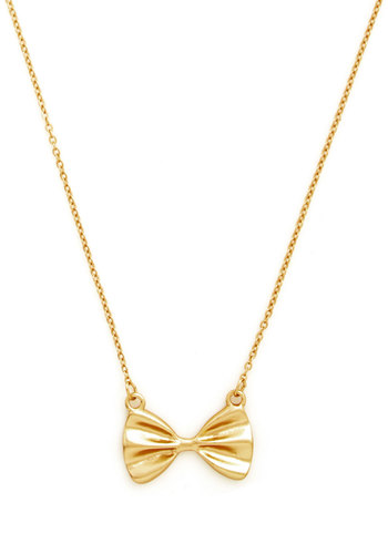 All Tied Together Necklace - Vintage Inspired, Gold, Bows, Daytime Party, Special Occasion, Gold