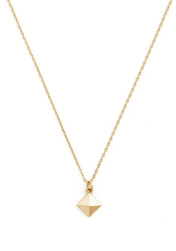 Pyramid Thought Necklace - Gold, Studs, Casual, Gold