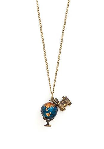 Sense of Self-Earth Necklace - Blue, Scholastic/Collegiate, Travel, Graduation, Gold, Quirky