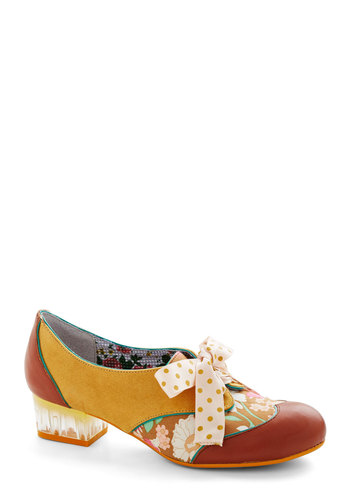 Clear Path Heel in Brown by Poetic License - Yellow, Multi, Polka Dots, Floral, Trim, Daytime Party, Best, Lace Up, Chunky heel, Low, Leather, Suede, Brown, Variation