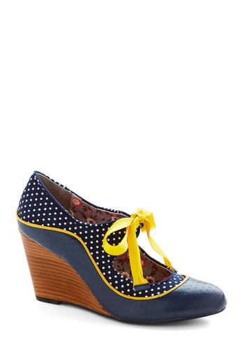 The Roadster to Success Wedge by Poetic License - Blue, Yellow, White, Polka Dots, Work, Daytime Party, Best, Wedge, Lace Up, Mid, Faux Leather, Woven, Vintage Inspired