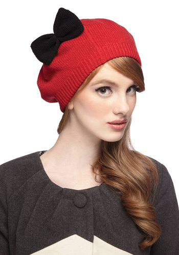 Light Up the Neighborhood Hat - Red, Black, Solid, Bows, French / Victorian, Fall, Winter, Better, Knit