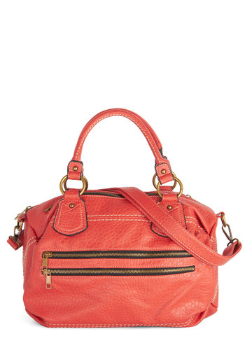 Zip's Awesome! Bag - Orange, Solid, Exposed zipper, Better, Faux Leather, Work, Boho, Statement, Urban