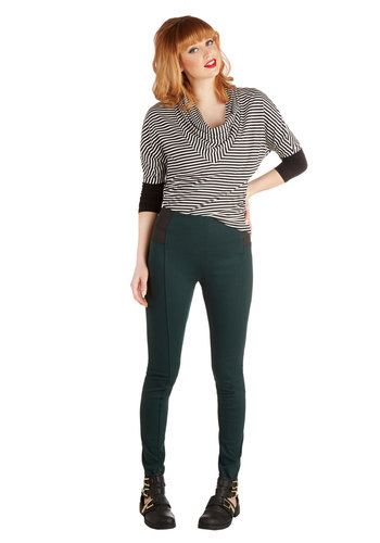 Mashup and Coming Leggings in Evergreen - Knit, Green, Solid, Minimal, Skinny, Variation, Green