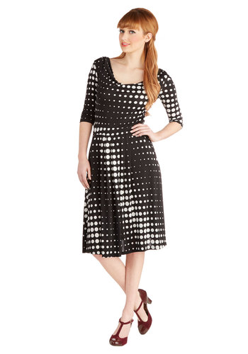 Countdown to Business Dress in Dots - Jersey, Knit, Long, Black, White, Polka Dots, Work, A-line, 3/4 Sleeve, Good, Pockets, Variation, Cowl