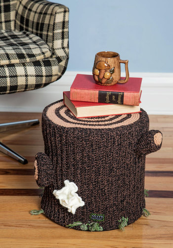 Ring Around the Cozy Stool - Knit, Cotton, Brown, Dorm Decor, Rustic, Quirky, Best, Graduation