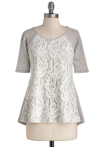 Down by the Bakery Top - Knit, Grey, White, Lace, Short Sleeves, Good, Grey, Short Sleeve, Mid-length, Casual, Scoop