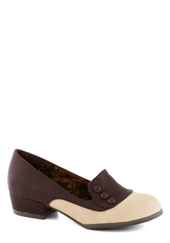 Art Walk Wonder Heel in Wine by Bait Footwear - Low, Faux Leather, Solid, Buttons, Work, Red, Tan / Cream, Vintage Inspired, 30s, Variation