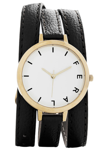 Wrap Time Watch in Black - Black, White, Solid, Casual, Gold, Better, Variation, Basic, Leather, Minimal, Work, Graduation, Gals