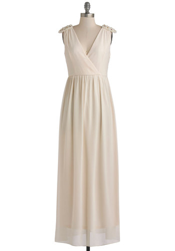 A Way With Awards Dress - Woven, Long, Cream, Solid, Epaulets, Pearls, Special Occasion, Maxi, Sleeveless, Better, V Neck, Beads, Bride, 20s, Wedding