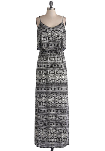 Playing with Patterns Dress - Woven, Long, White, Print, Casual, Maxi, Spaghetti Straps, Good, Tiered, Beach/Resort, Festival, Black, Summer, Top Rated, Boho, Party
