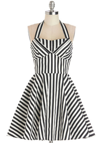 Traveling Cupcake Truck Dress in Licorice Stripe - Cotton, Woven, Mid-length, Black, White, Stripes, Fit & Flare, Halter, Good, Sweetheart, Variation, Daytime Party