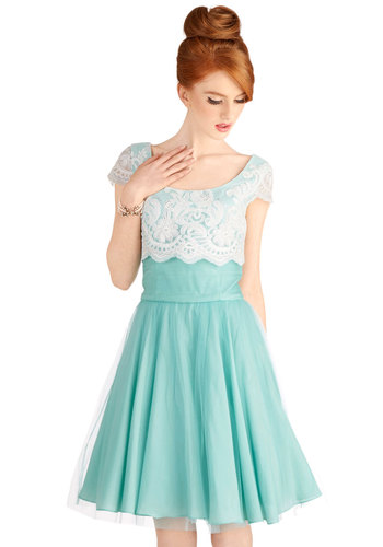 Breathtaking Belle Dress in Mint - Blue, White, Solid, Lace, Party, Cocktail, A-line, Cap Sleeves, Long, Wedding, Vintage Inspired, 40s, 50s, Luxe, Fairytale, Exclusives, Pastel, Prom, Bridesmaid, Short Sleeves