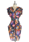 Winter Light Garden Dress - Multi, Print, Casual, Short Sleeves, Better, V Neck, Woven, Mid-length, Pockets, Sheath / Shift