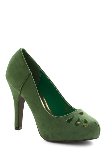 Let It Fern Heel - High, Faux Leather, Green, Solid, Cutout, Party, Holiday Party, Good