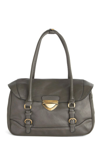 From Cubicle to Cocktails Bag - Grey, Gold, Solid, Buckles, Better, Faux Leather, Work, Boho, Statement, Urban