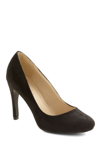 A Step Ahead Heel - Black, Solid, Good, Mid, Faux Leather, Party, Work, Minimal, Basic