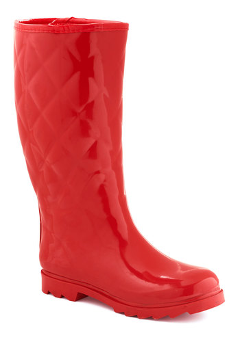 Splash Hurrah Rain Boot in Red - Low, Red, Solid, Quilted, Good, Casual, Variation, Spring