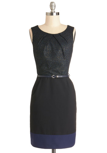 Cosmopolitan Concierge Dress in Blue - Woven, Mid-length, Black, Blue, Belted, Work, Shift, Sleeveless, Good, Scoop, Pockets, Variation